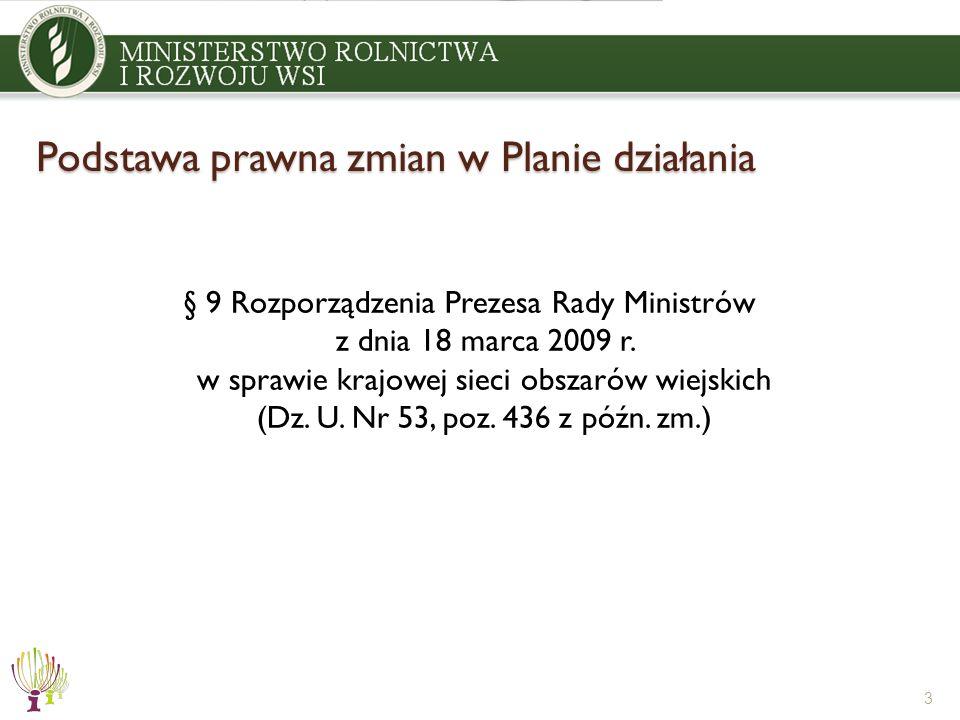 Podstawa prawna zmian w Planie działania § 9 Rozporządzenia Prezesa Rady Ministrów z dnia 18 marca 2009 r. w sprawie krajowej sieci obszarów wiejskich