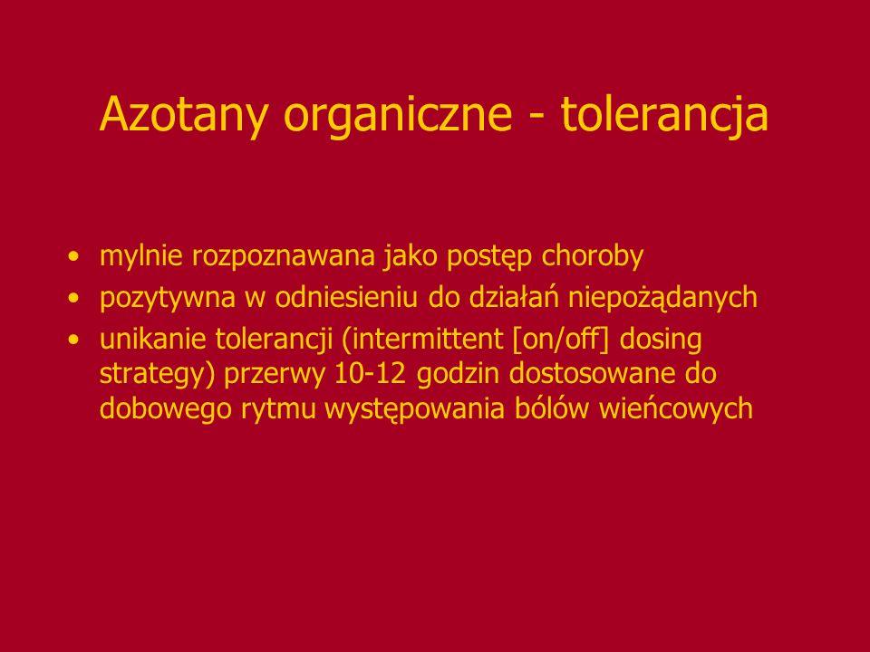 Azotany organiczne - tolerancja mylnie rozpoznawana jako postęp choroby pozytywna w odniesieniu do działań niepożądanych unikanie tolerancji (intermit