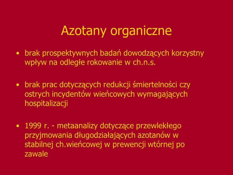 Azotany organiczne brak prospektywnych badań dowodzących korzystny wpływ na odległe rokowanie w ch.n.s. brak prac dotyczących redukcji śmiertelności c