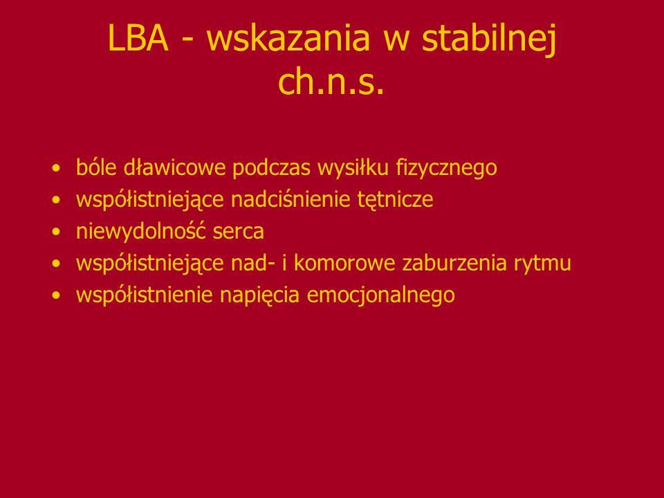 LBA - wskazania w stabilnej ch.n.s. bóle dławicowe podczas wysiłku fizycznego współistniejące nadciśnienie tętnicze niewydolność serca współistniejące