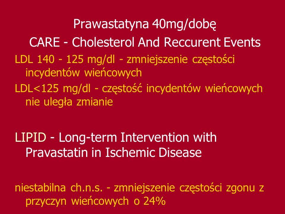 Prawastatyna 40mg/dobę CARE - Cholesterol And Reccurent Events LDL 140 - 125 mg/dl - zmniejszenie częstości incydentów wieńcowych LDL<125 mg/dl - częs
