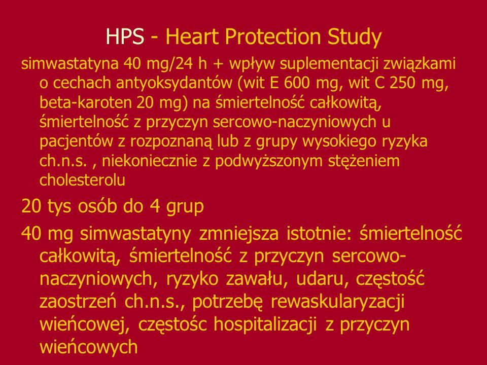 HPS - Heart Protection Study simwastatyna 40 mg/24 h + wpływ suplementacji związkami o cechach antyoksydantów (wit E 600 mg, wit C 250 mg, beta-karote