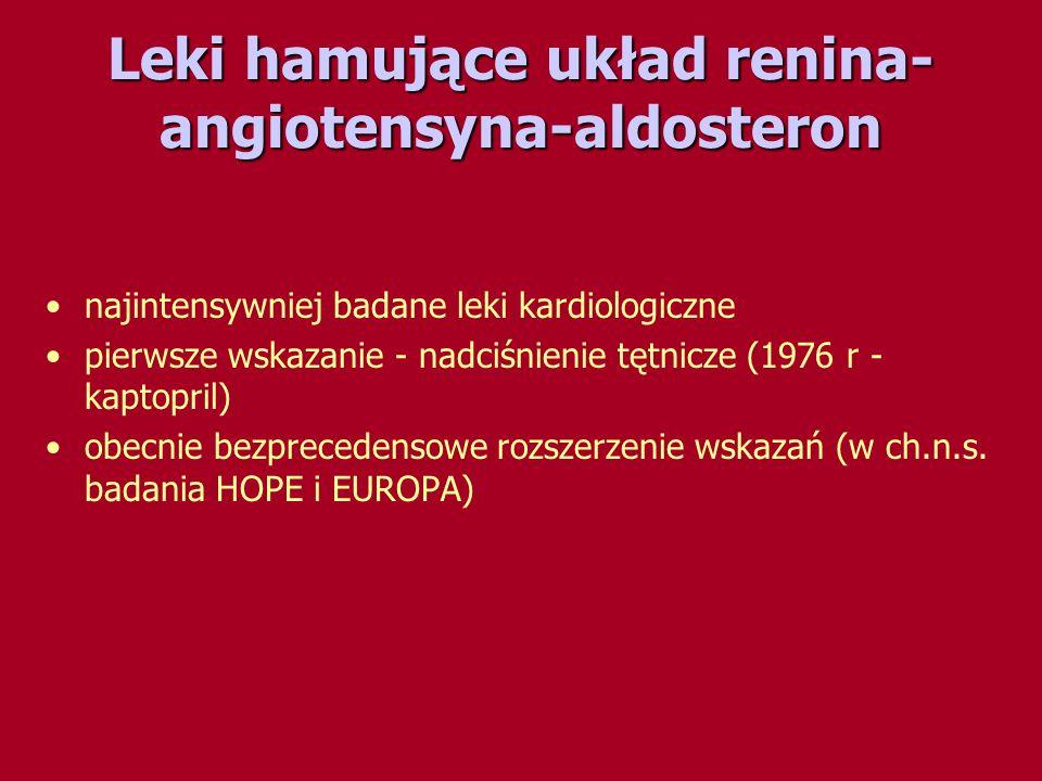 Leki hamujące układ renina- angiotensyna-aldosteron najintensywniej badane leki kardiologiczne pierwsze wskazanie - nadciśnienie tętnicze (1976 r - ka
