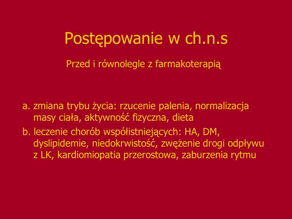 Antagoniści kanałów wapniowych NIFEDYPINA krótkodziałająca jest przeciwwskazana w leczeniu ch.n.s.