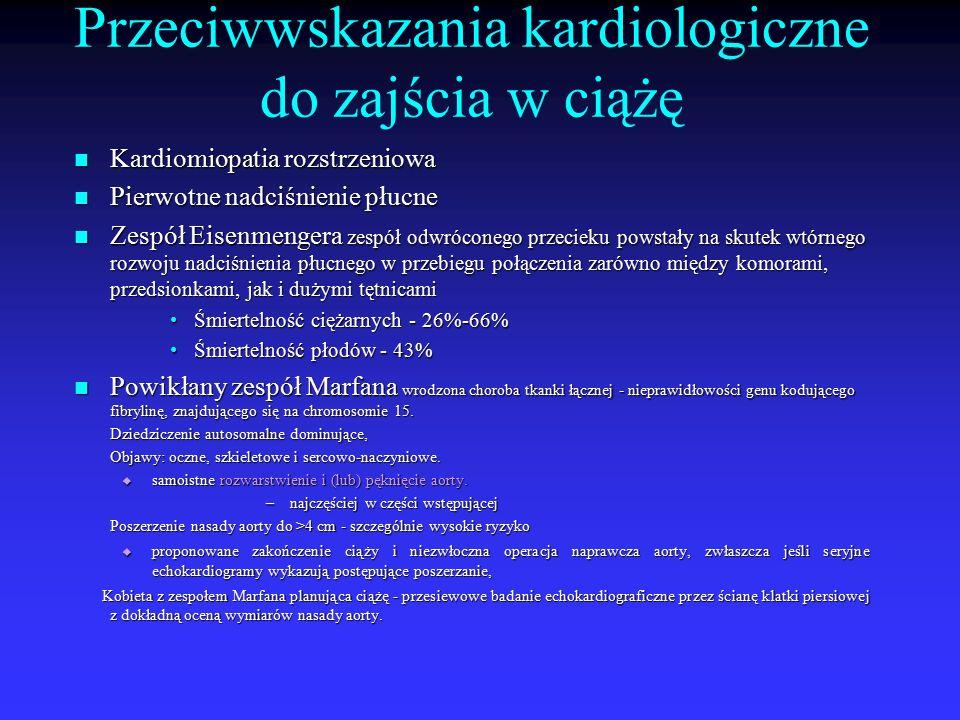 Przeciwwskazania kardiologiczne do zajścia w ciążę Kardiomiopatia rozstrzeniowa Kardiomiopatia rozstrzeniowa Pierwotne nadciśnienie płucne Pierwotne n