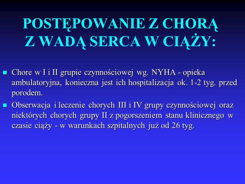 POSTĘPOWANIE Z CHORĄ Z WADĄ SERCA W CIĄŻY: Chore w I i II grupie czynnościowej wg. NYHA - opieka ambulatoryjna, konieczna jest ich hospitalizacja ok.