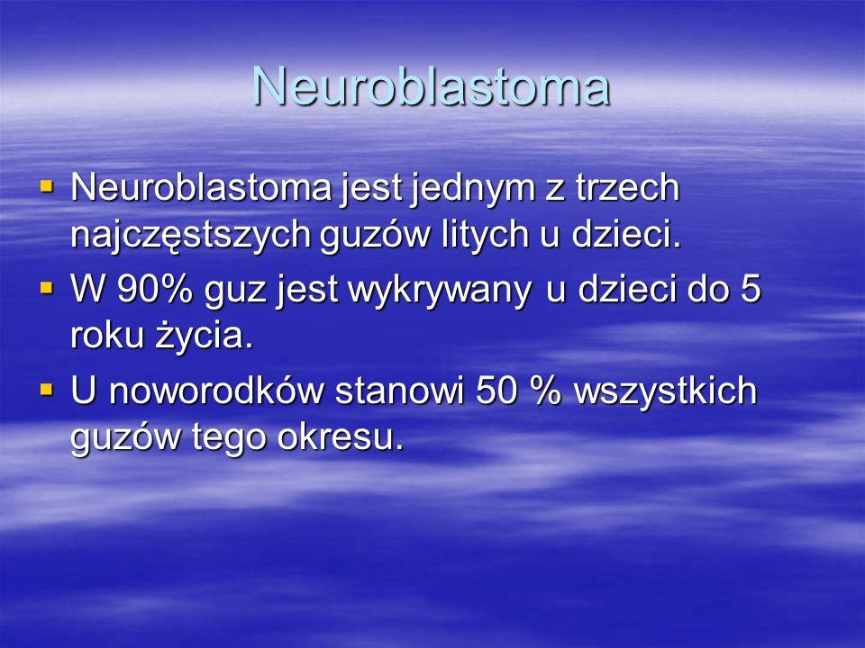 Neuroblastoma  Neuroblastoma jest jednym z trzech najczęstszych guzów litych u dzieci.  W 90% guz jest wykrywany u dzieci do 5 roku życia.  U nowor