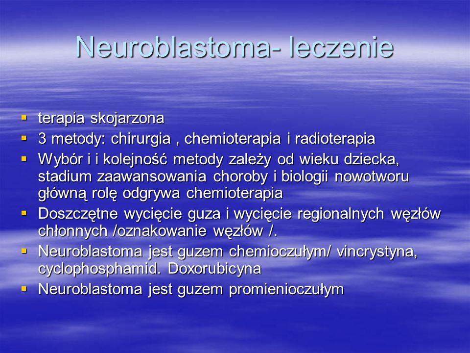 Neuroblastoma- leczenie  terapia skojarzona  3 metody: chirurgia, chemioterapia i radioterapia  Wybór i i kolejność metody zależy od wieku dziecka,