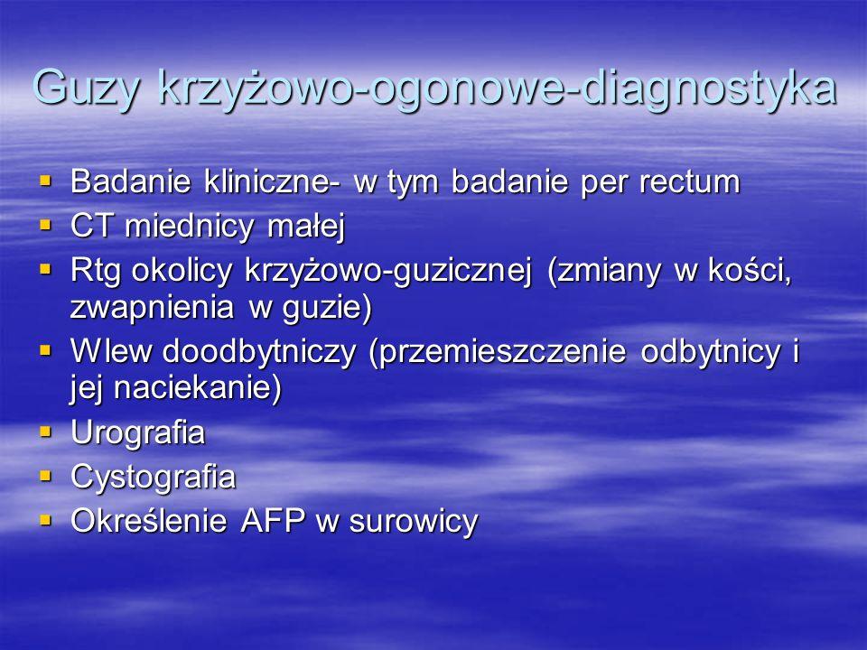 Guzy krzyżowo-ogonowe-diagnostyka  Badanie kliniczne- w tym badanie per rectum  CT miednicy małej  Rtg okolicy krzyżowo-guzicznej (zmiany w kości,