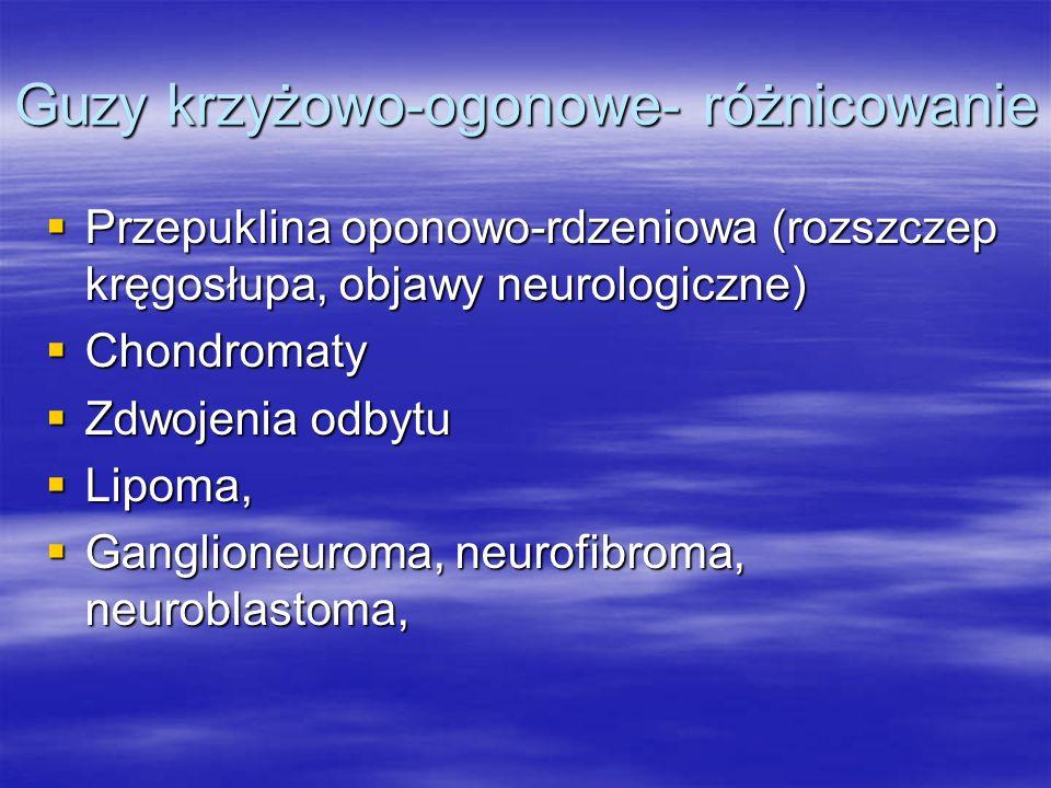 Guzy krzyżowo-ogonowe- różnicowanie  Przepuklina oponowo-rdzeniowa (rozszczep kręgosłupa, objawy neurologiczne)  Chondromaty  Zdwojenia odbytu  Li