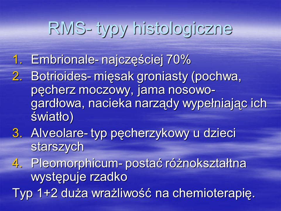 RMS- typy histologiczne 1.Embrionale- najczęściej 70% 2.Botrioides- mięsak groniasty (pochwa, pęcherz moczowy, jama nosowo- gardłowa, nacieka narządy