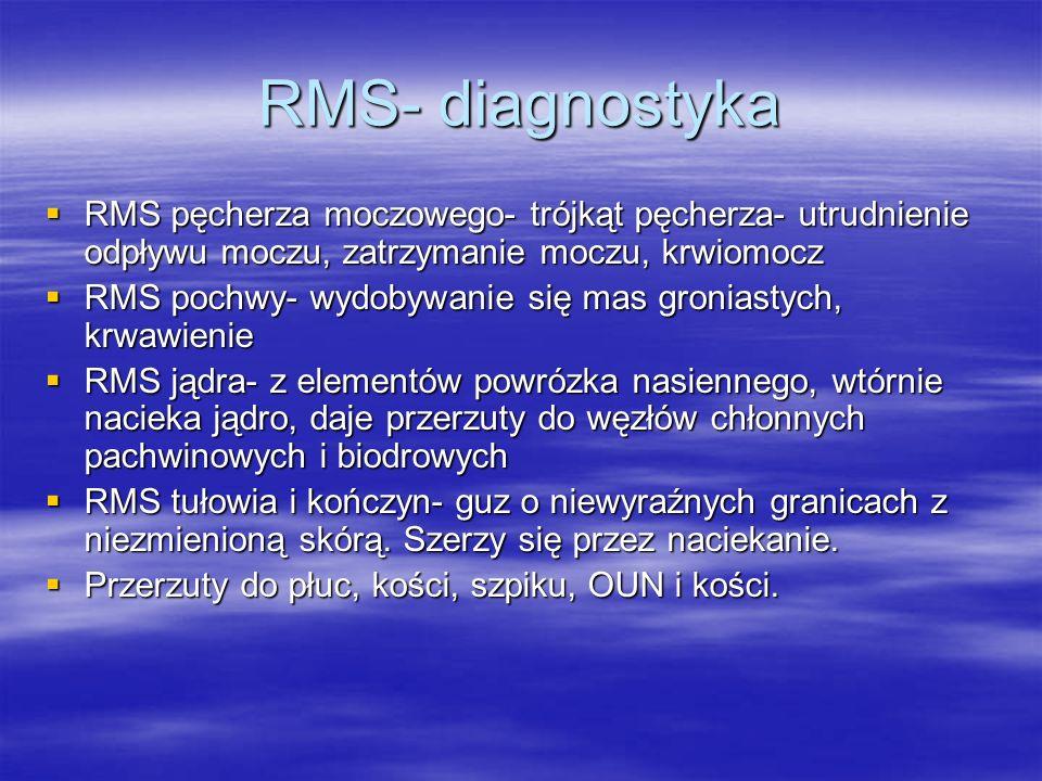 RMS- diagnostyka  RMS pęcherza moczowego- trójkąt pęcherza- utrudnienie odpływu moczu, zatrzymanie moczu, krwiomocz  RMS pochwy- wydobywanie się mas