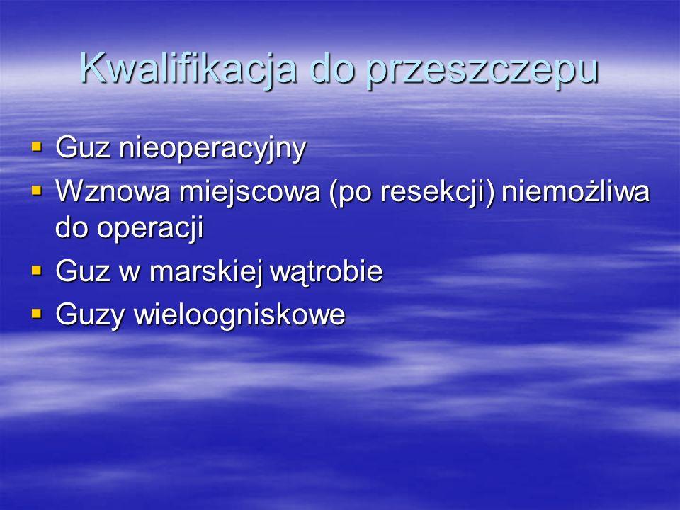 Kwalifikacja do przeszczepu  Guz nieoperacyjny  Wznowa miejscowa (po resekcji) niemożliwa do operacji  Guz w marskiej wątrobie  Guzy wieloogniskow