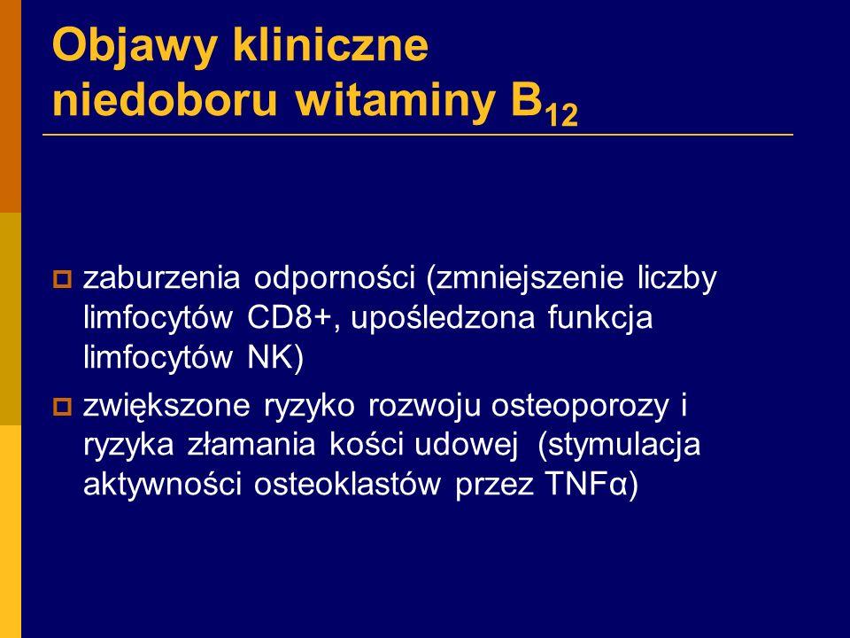 Objawy kliniczne niedoboru witaminy B 12  zaburzenia odporności (zmniejszenie liczby limfocytów CD8+, upośledzona funkcja limfocytów NK)  zwiększone ryzyko rozwoju osteoporozy i ryzyka złamania kości udowej (stymulacja aktywności osteoklastów przez TNFα)