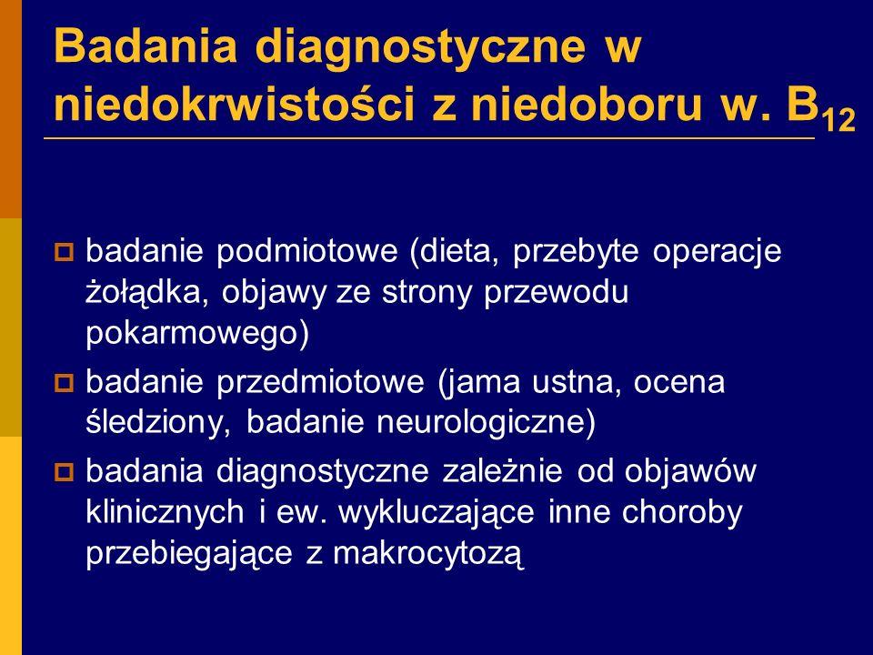 Badania diagnostyczne w niedokrwistości z niedoboru w.