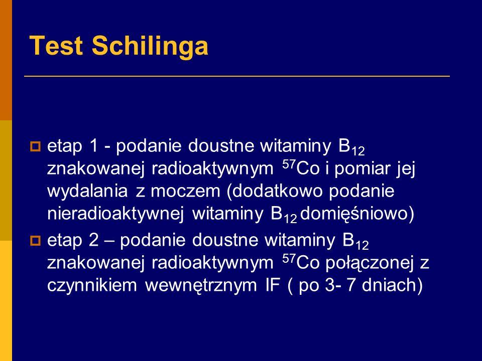 Test Schilinga  etap 1 - podanie doustne witaminy B 12 znakowanej radioaktywnym 57 Co i pomiar jej wydalania z moczem (dodatkowo podanie nieradioaktywnej witaminy B 12 domięśniowo)  etap 2 – podanie doustne witaminy B 12 znakowanej radioaktywnym 57 Co połączonej z czynnikiem wewnętrznym IF ( po 3- 7 dniach)