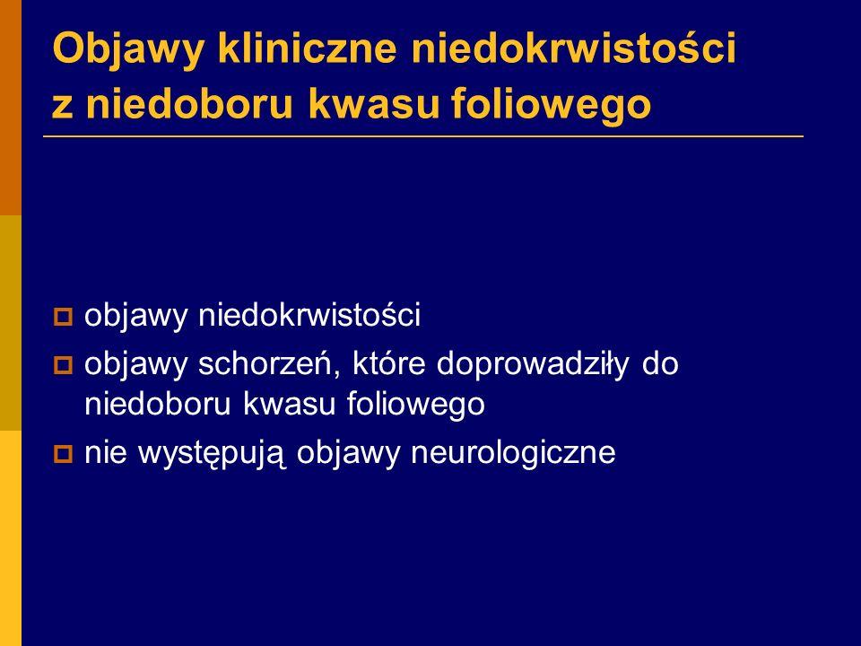 Objawy kliniczne niedokrwistości z niedoboru kwasu foliowego  objawy niedokrwistości  objawy schorzeń, które doprowadziły do niedoboru kwasu foliowego  nie występują objawy neurologiczne