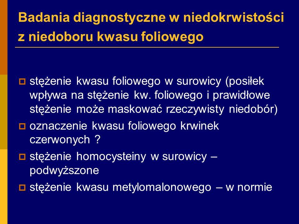 Badania diagnostyczne w niedokrwistości z niedoboru kwasu foliowego  stężenie kwasu foliowego w surowicy (posiłek wpływa na stężenie kw.