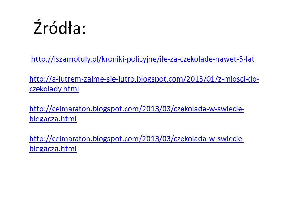 Źródła: http://iszamotuly.pl/kroniki-policyjne/ile-za-czekolade-nawet-5-lat http://a-jutrem-zajme-sie-jutro.blogspot.com/2013/01/z-miosci-do- czekolad