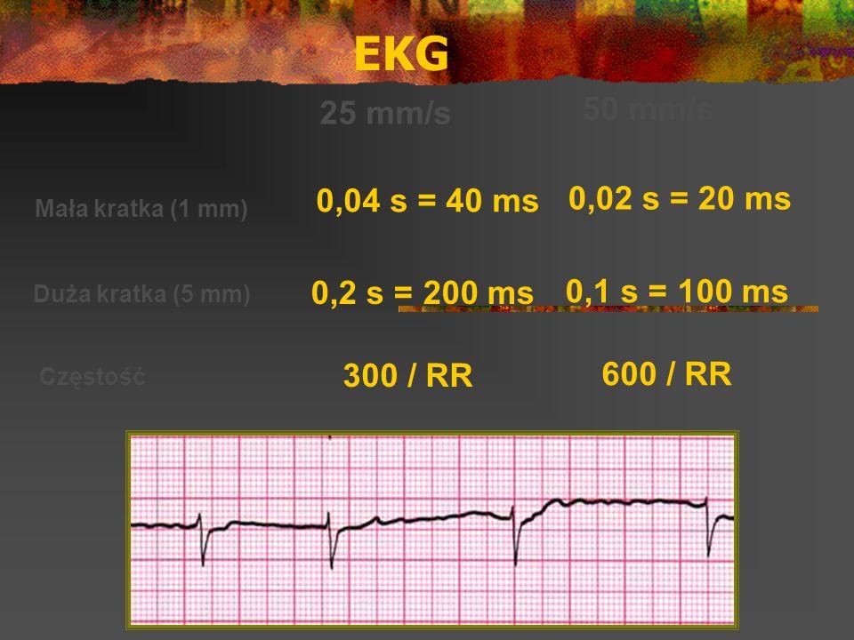EKG 25 mm/s 50 mm/s Mała kratka (1 mm) Duża kratka (5 mm) Częstość 0,04 s = 40 ms 0,02 s = 20 ms 0,2 s = 200 ms 0,1 s = 100 ms 300 / RR 600 / RR