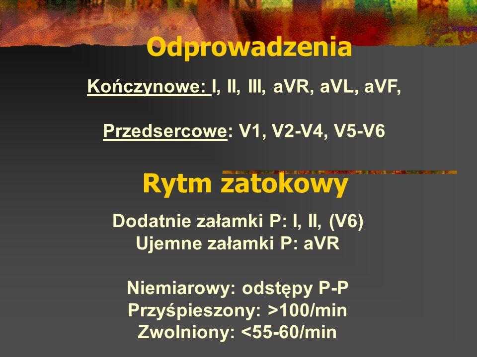 wzrost stężenia potasu w osoczu (1) Kryteria ] Ostry, wysoki załamek T o skróconym czasie trwania ] Zespół QRS poszerzony ] Poszerzony i spłaszczony załamek P ] Wydłużenie odstępu PQ