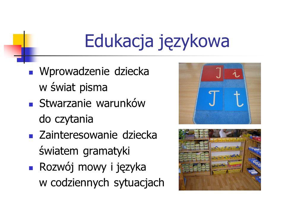 Edukacja językowa Wprowadzenie dziecka w świat pisma Stwarzanie warunków do czytania Zainteresowanie dziecka światem gramatyki Rozwój mowy i języka w codziennych sytuacjach