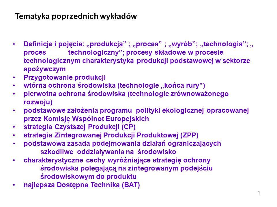 """1 Definicje i pojęcia: """"produkcja"""" ; """"proces"""" ; """"wyrób""""; """"technologia""""; """" proces technologiczny""""; procesy składowe w procesie technologicznym charakte"""