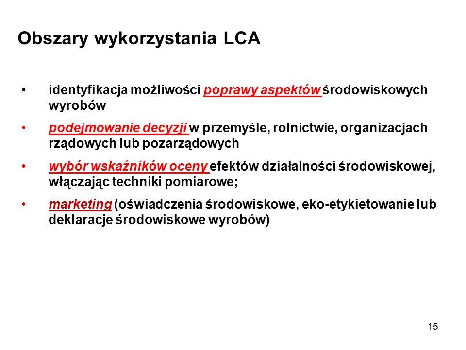 15 Obszary wykorzystania LCA identyfikacja możliwości poprawy aspektów środowiskowych wyrobów podejmowanie decyzji w przemyśle, rolnictwie, organizacj
