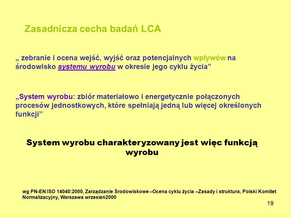 """19 wg PN-EN ISO 14040:2000, Zarządzanie Środowiskowe –Ocena cyklu życia –Zasady i struktura, Polski Komitet Normalizacyjny, Warszawa wrzesień2000 """" ze"""