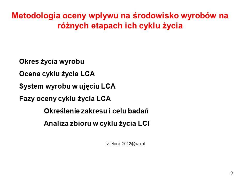 2 Metodologia oceny wpływu na środowisko wyrobów na różnych etapach ich cyklu życia Okres życia wyrobu Ocena cyklu życia LCA System wyrobu w ujęciu LC