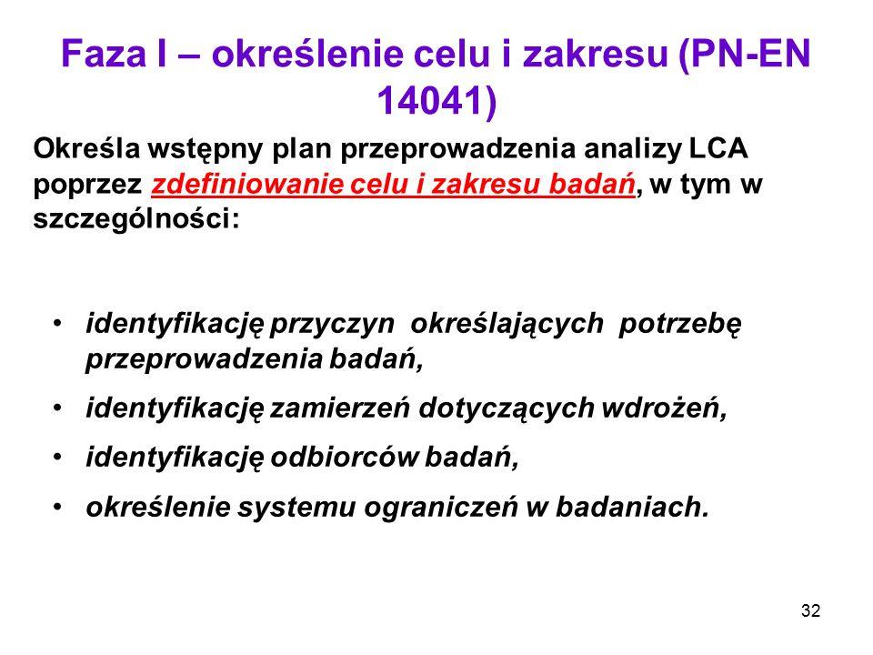 32 Faza I – określenie celu i zakresu (PN-EN 14041) Określa wstępny plan przeprowadzenia analizy LCA poprzez zdefiniowanie celu i zakresu badań, w tym
