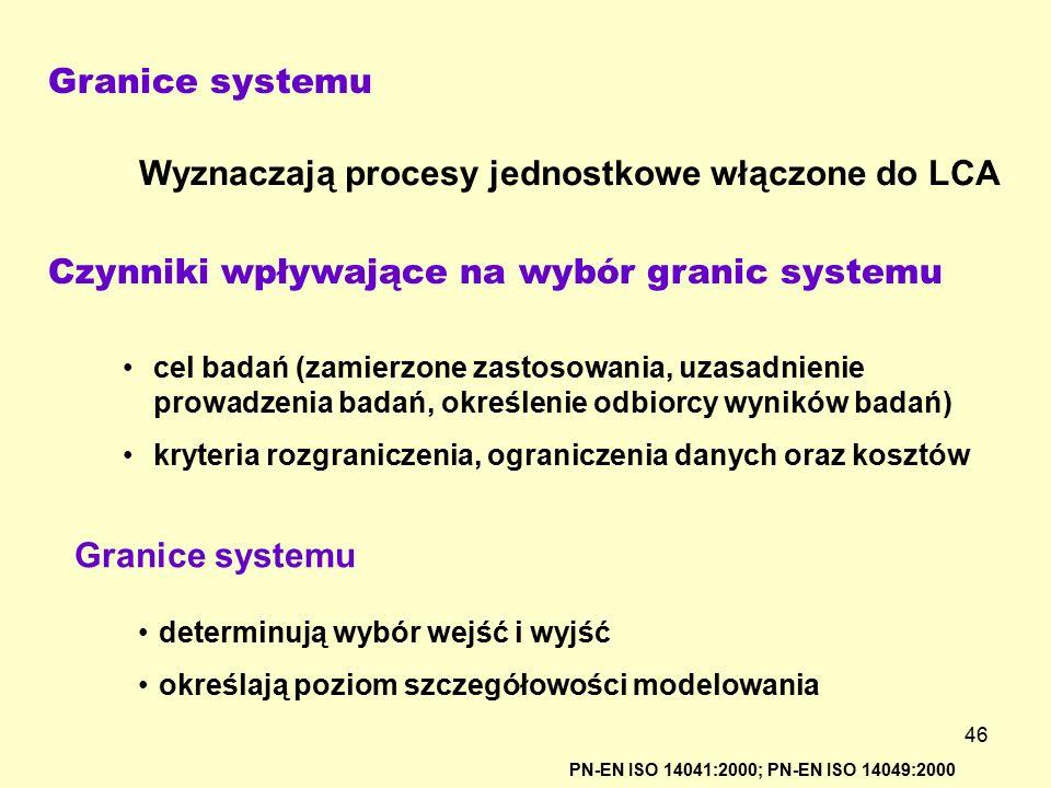 46 Granice systemu PN-EN ISO 14041:2000; PN-EN ISO 14049:2000 Wyznaczają procesy jednostkowe włączone do LCA Czynniki wpływające na wybór granic syste