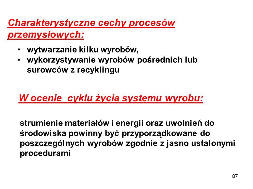 87 Charakterystyczne cechy procesów przemysłowych: wytwarzanie kilku wyrobów, wykorzystywanie wyrobów pośrednich lub surowców z recyklingu W ocenie cy