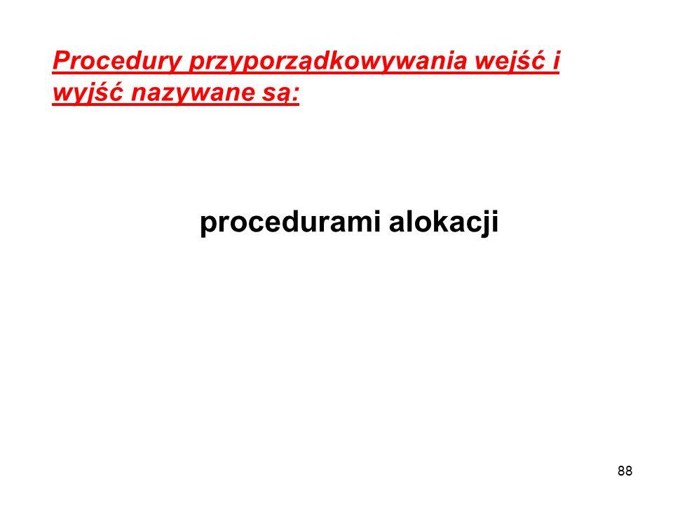 88 Procedury przyporządkowywania wejść i wyjść nazywane są: procedurami alokacji