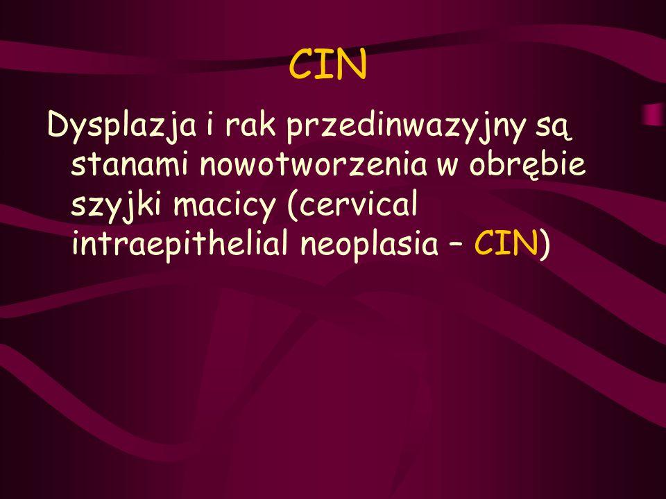 CIN Dysplazja i rak przedinwazyjny są stanami nowotworzenia w obrębie szyjki macicy (cervical intraepithelial neoplasia – CIN)