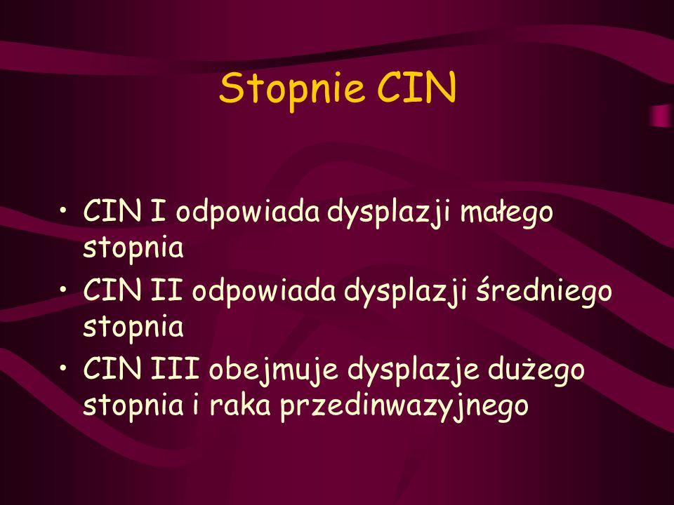 Stopnie CIN CIN I odpowiada dysplazji małego stopnia CIN II odpowiada dysplazji średniego stopnia CIN III obejmuje dysplazje dużego stopnia i raka prz