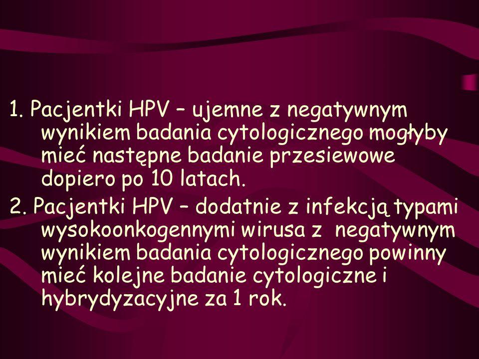 1. Pacjentki HPV – ujemne z negatywnym wynikiem badania cytologicznego mogłyby mieć następne badanie przesiewowe dopiero po 10 latach. 2. Pacjentki HP