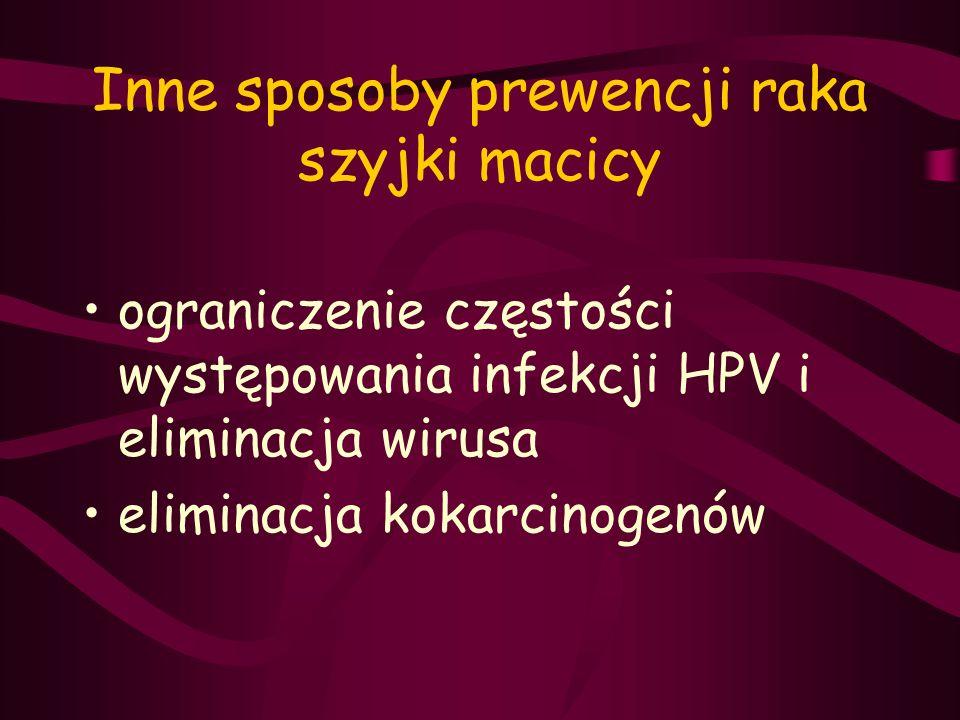 Inne sposoby prewencji raka szyjki macicy ograniczenie częstości występowania infekcji HPV i eliminacja wirusa eliminacja kokarcinogenów