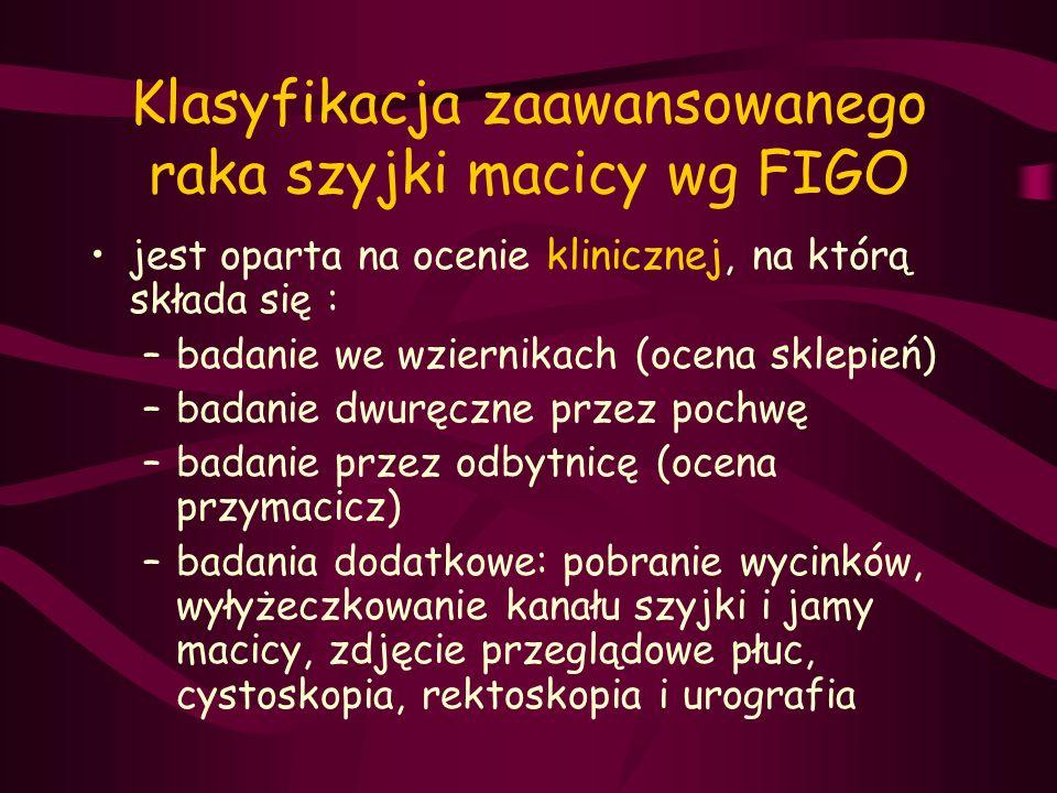 Klasyfikacja zaawansowanego raka szyjki macicy wg FIGO jest oparta na ocenie klinicznej, na którą składa się : –badanie we wziernikach (ocena sklepień