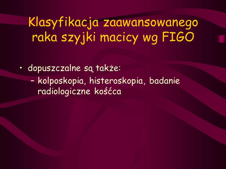 Klasyfikacja zaawansowanego raka szyjki macicy wg FIGO dopuszczalne są także: –kolposkopia, histeroskopia, badanie radiologiczne kośćca