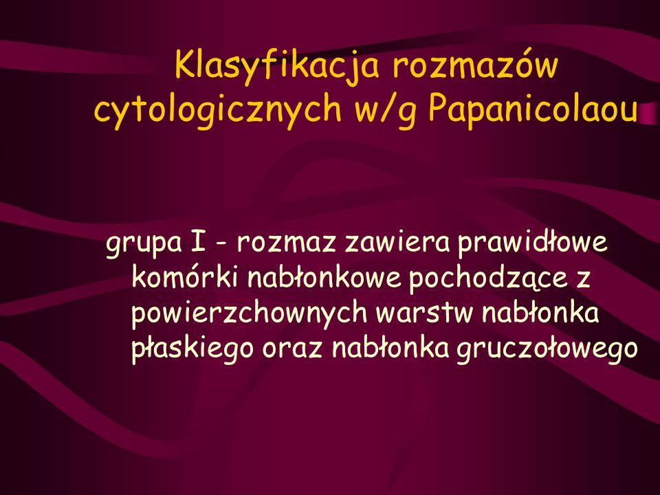 Klasyfikacja rozmazów cytologicznych w/g Papanicolaou grupa I - rozmaz zawiera prawidłowe komórki nabłonkowe pochodzące z powierzchownych warstw nabło
