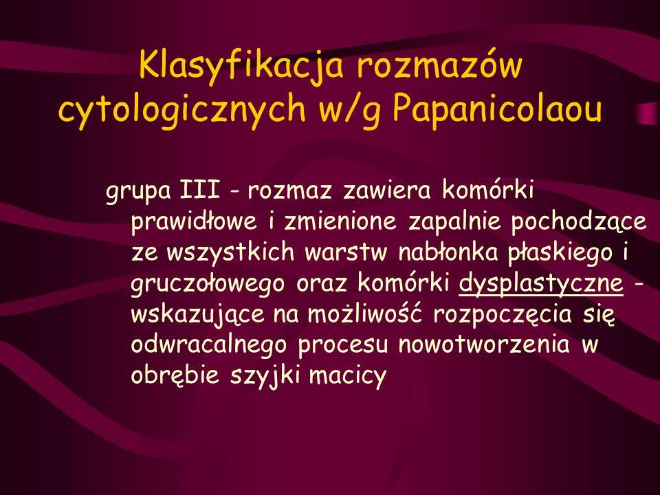 Klasyfikacja rozmazów cytologicznych w/g Papanicolaou grupa III - rozmaz zawiera komórki prawidłowe i zmienione zapalnie pochodzące ze wszystkich wars