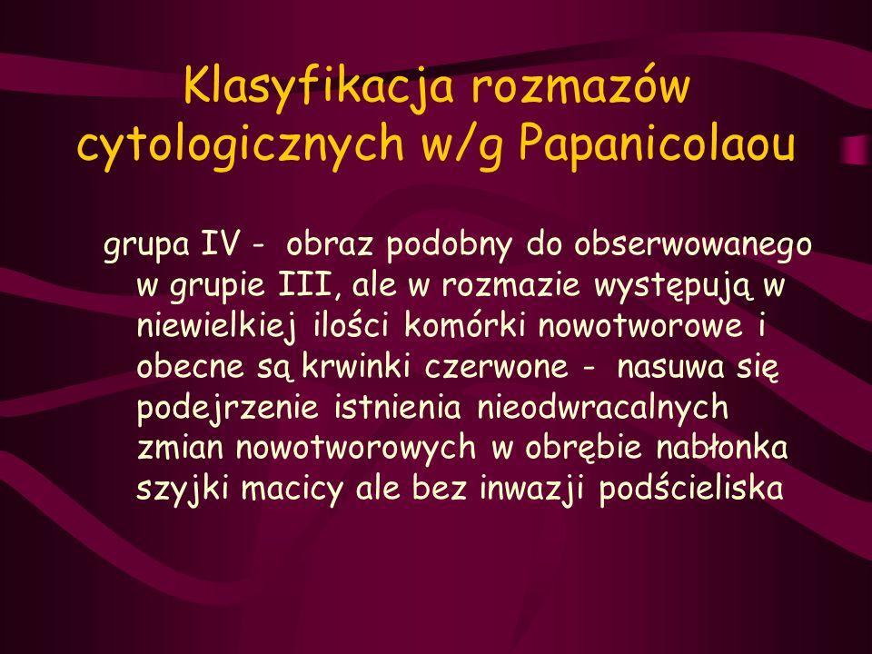 Klasyfikacja rozmazów cytologicznych w/g Papanicolaou grupa IV - obraz podobny do obserwowanego w grupie III, ale w rozmazie występują w niewielkiej i