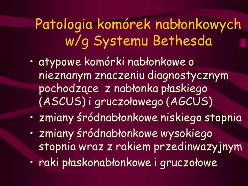 Patologia komórek nabłonkowych w/g Systemu Bethesda atypowe komórki nabłonkowe o nieznanym znaczeniu diagnostycznym pochodzące z nabłonka płaskiego (A