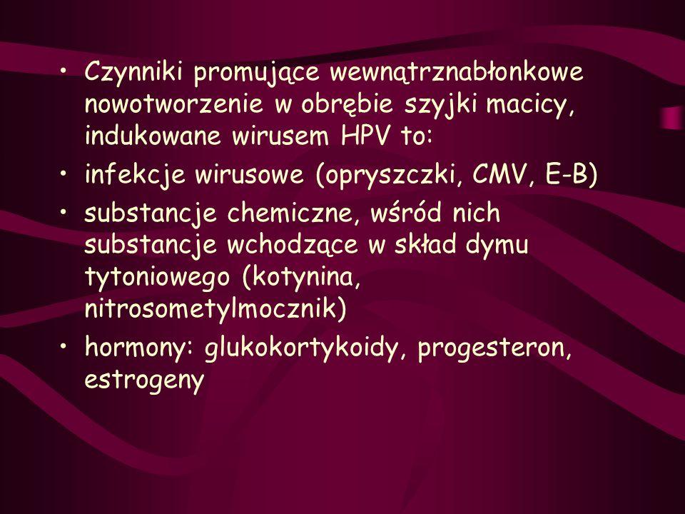 Czynniki promujące wewnątrznabłonkowe nowotworzenie w obrębie szyjki macicy, indukowane wirusem HPV to: infekcje wirusowe (opryszczki, CMV, E-B) subst