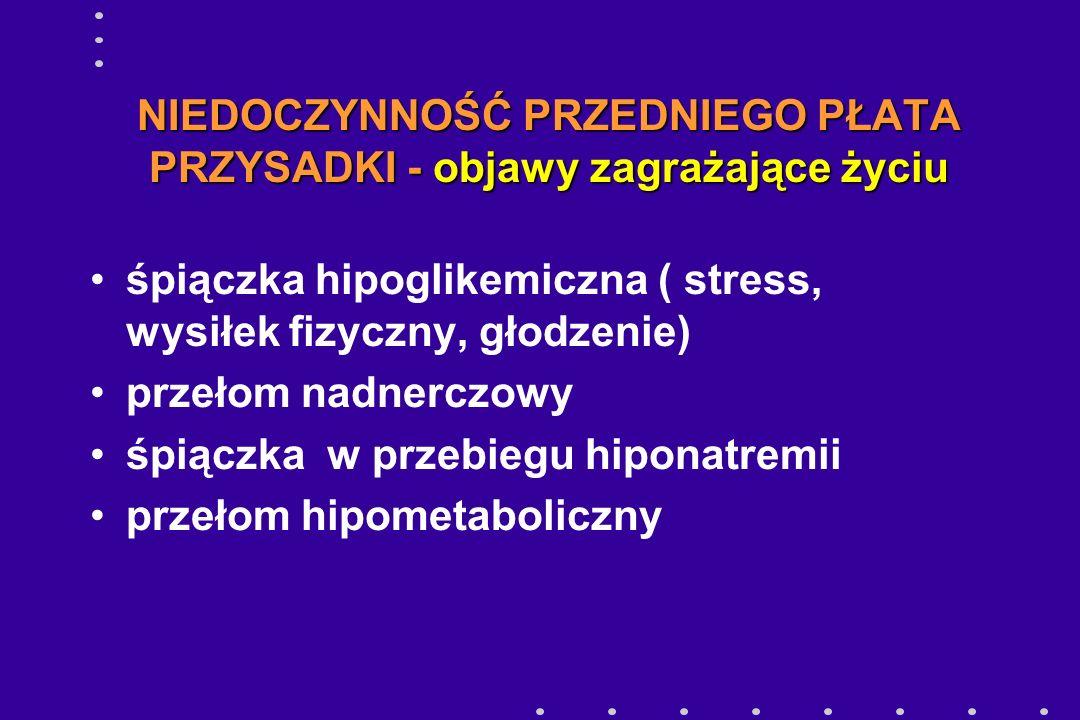 NIEDOCZYNNOŚĆ PRZEDNIEGO PŁATA PRZYSADKI - objawy zagrażające życiu śpiączka hipoglikemiczna ( stress, wysiłek fizyczny, głodzenie) przełom nadnerczow