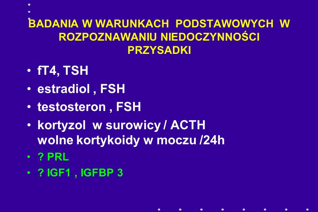 BADANIA W WARUNKACH PODSTAWOWYCH W ROZPOZNAWANIU NIEDOCZYNNOŚCI PRZYSADKI fT4, TSH estradiol, FSH testosteron, FSH kortyzol w surowicy / ACTH wolne ko