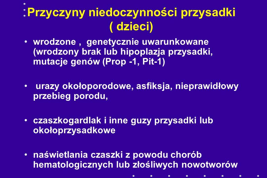 NIEDOCZYNNOŚĆ PRZYSADKI Gen Pit - 1 Pit-1 - białko 291 amkw mRNA dla Pit-1 obecne w życiu płodowym udział w aktywacji transkrypcji GH i PRL wpływ na różnicowanie, proliferację i przeżycie komórek przedniego płata przysadki mutacje genu Pit-1 - niedobory hormonów przedniego płata przysadki( GH, PRL,TSH- ,LH FSH )