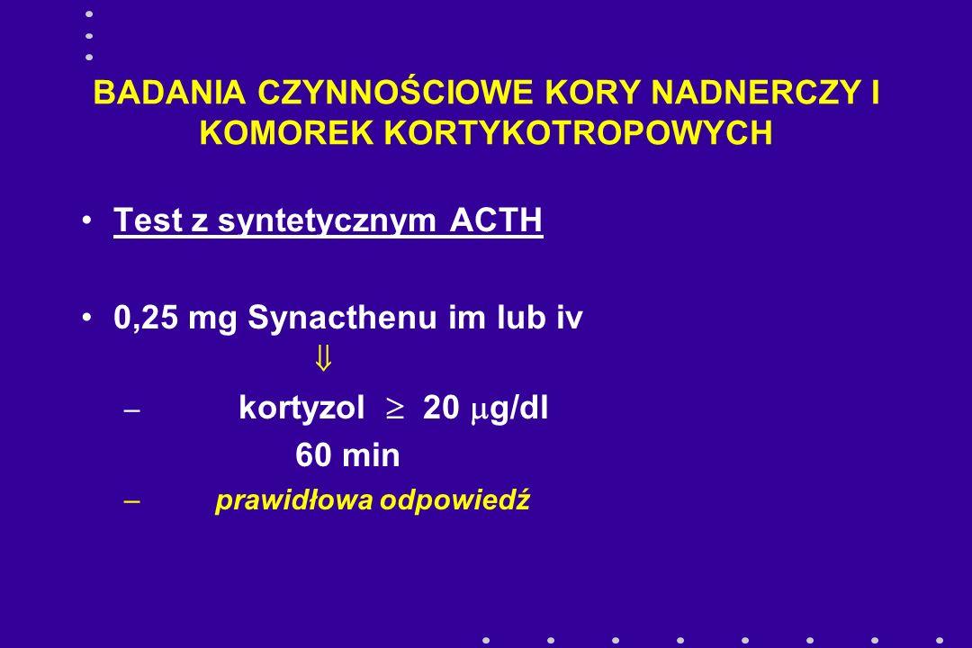 BADANIA CZYNNOŚCIOWE KORY NADNERCZY I KOMOREK KORTYKOTROPOWYCH Test hipoglikemii poinsulinowej 0,1 j /kg.c.c.insuliny iv pobrania 0, (30), 60 min kortyzol  20  g/dl prawidłowa odpowiedź ACTH