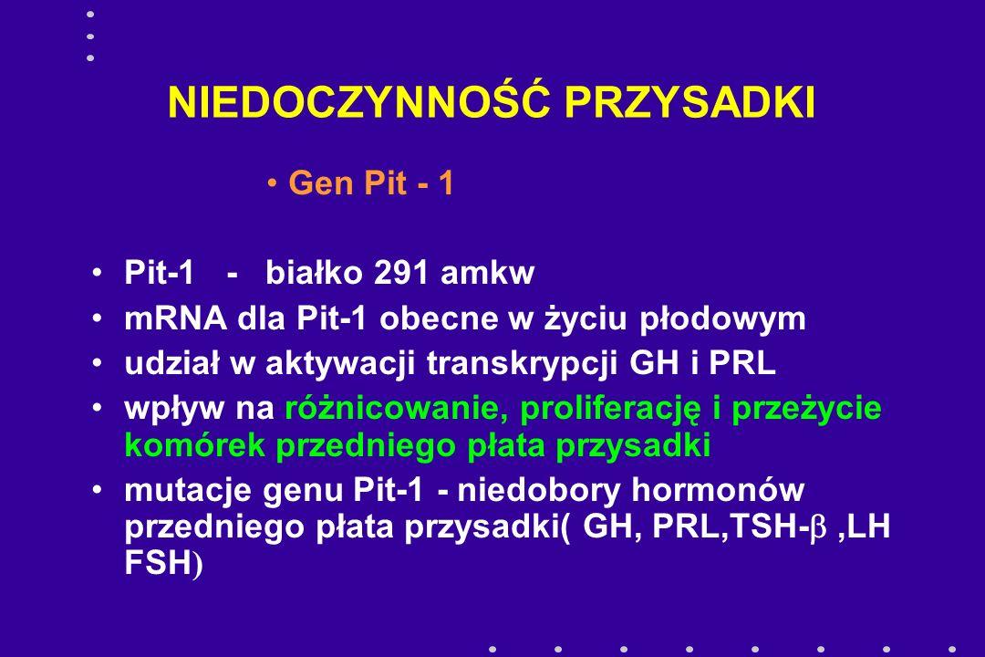 NIEDOCZYNNOŚĆ PRZYSADKI Gen Pit - 1 Pit-1 - białko 291 amkw mRNA dla Pit-1 obecne w życiu płodowym udział w aktywacji transkrypcji GH i PRL wpływ na r